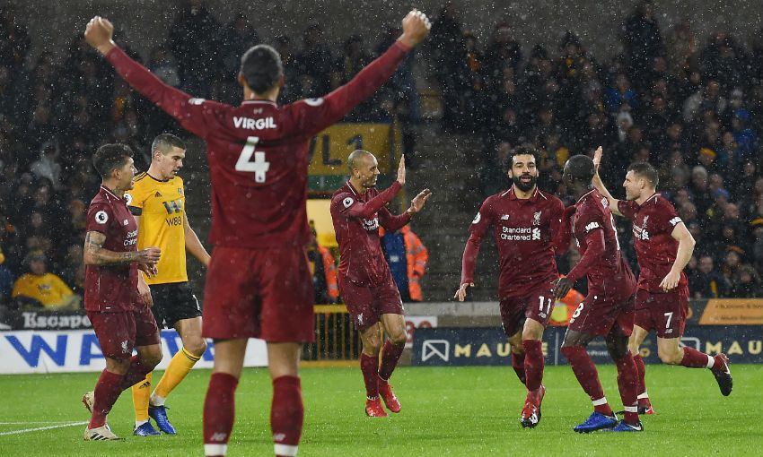 Mohamed Salah celebrates scoring for Liverpool FC versus Wolves at Molineux