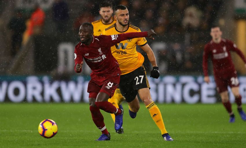 Naby Keita of Liverpool FC in action v Wolves