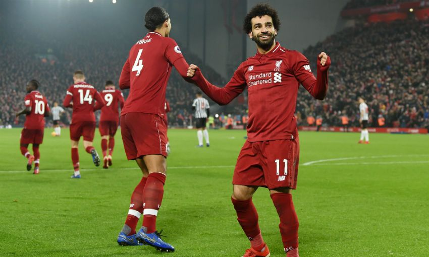 Mohamed Salah celebrates scoring for Liverpool FC versus Newcastle United