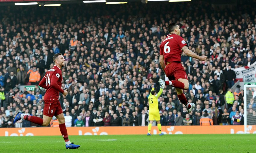 Dejan Lovren celebrates his goal against Newcastle