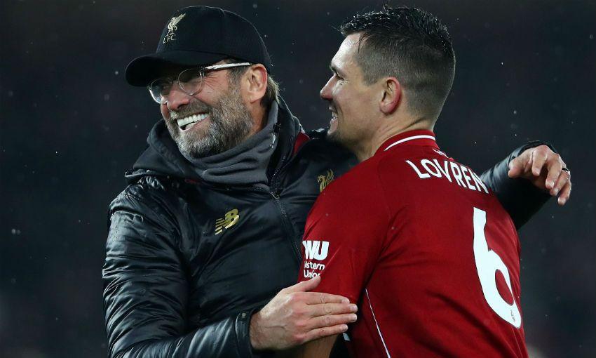 Dejan Lovren and Jürgen Klopp of Liverpool FC