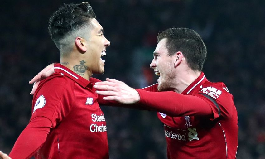Andy Robertson and Roberto Firmino celebrate