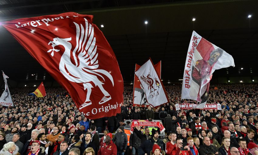 General view of fans at Anfield