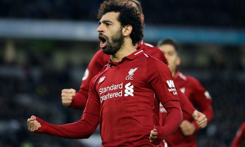 Mohamed Salah celebrates a Liverpool goal
