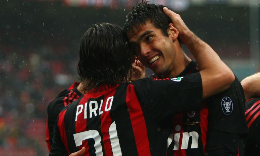 AC Milan legends Kaka and Andrea Pirlo