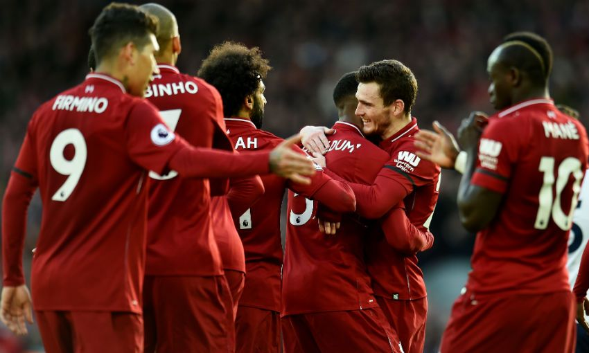 Liverpool FC celebrate scoring versus AFC Bournemouth at Anfield