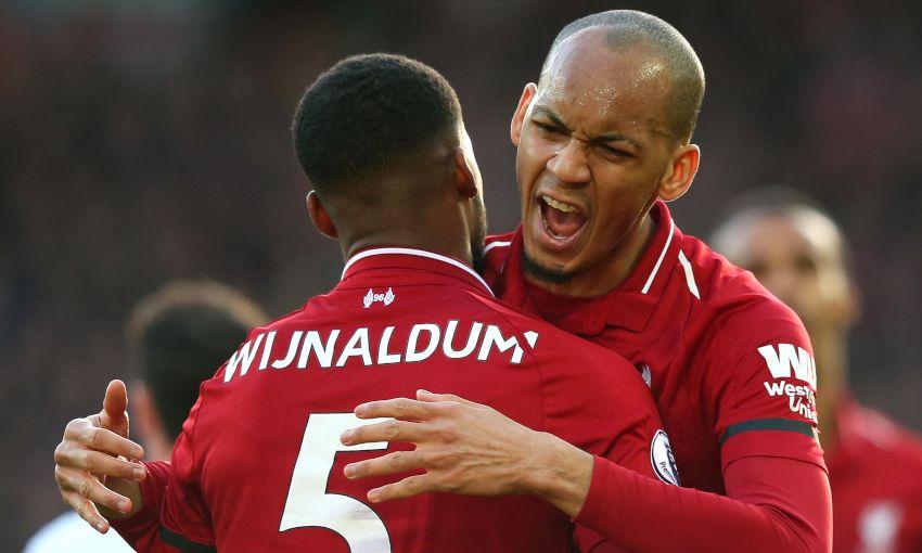 Fabinho celebrates a Liverpool goal