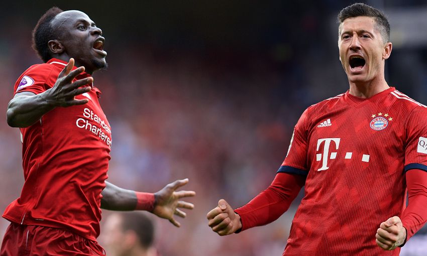 Liverpool's Sadio Mane and Bayern Munich's Robert Lewandowski