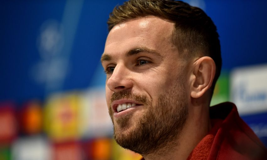 Jordan Henderson at a Champions League press conference