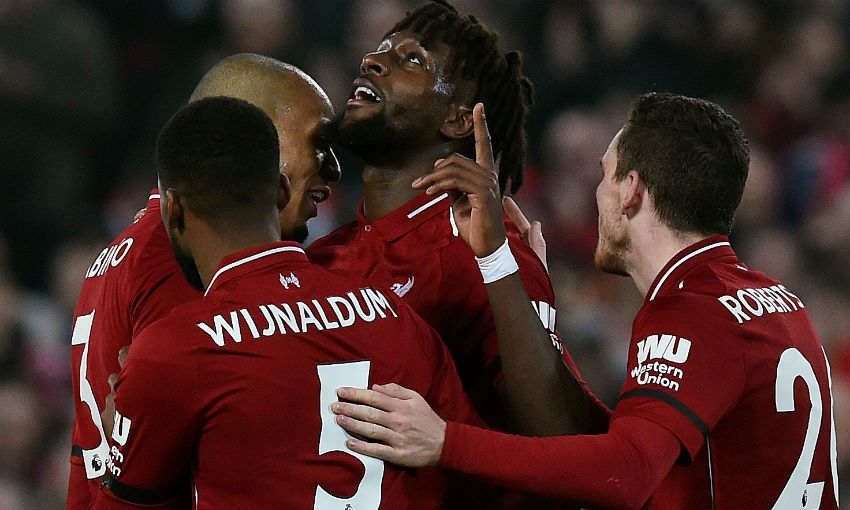 Divock Origi of Liverpool FC celebrates scoring v Watford