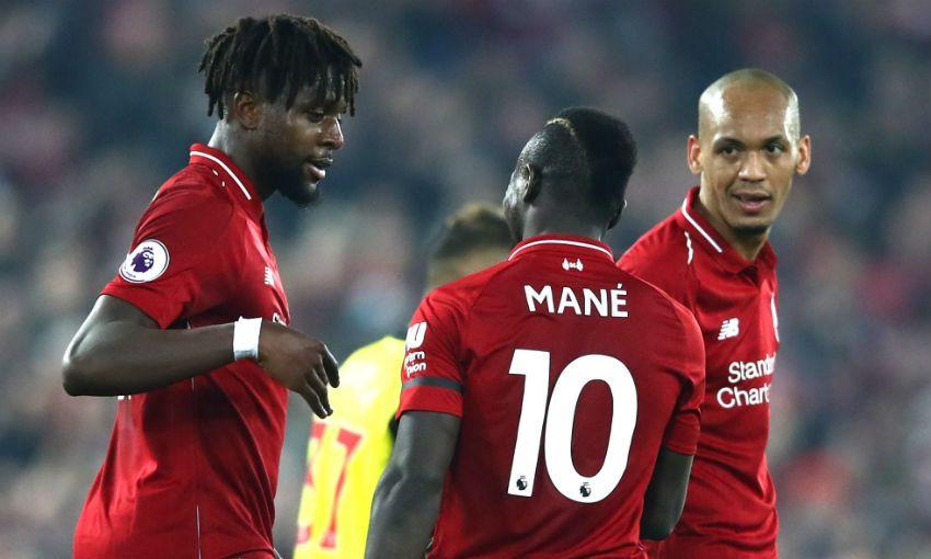 Sadio Mane celebrates scoring for Liverpool FC v Watford