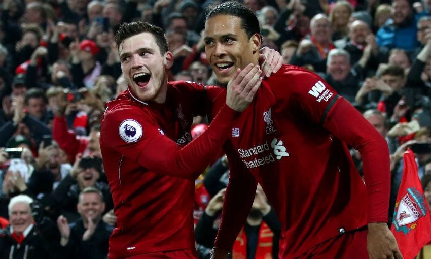 Andy Robertson and Virgil van Dijk of Liverpool FC