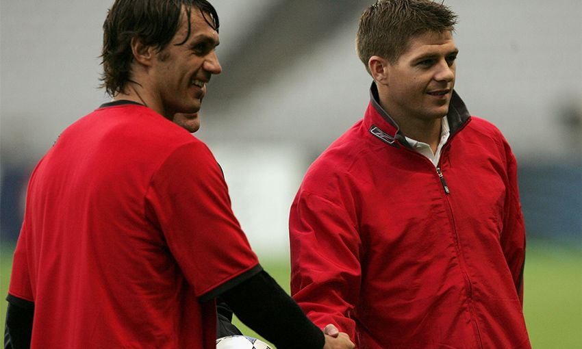 Paolo Maldini and Steven Gerrard shake hands ahead of the 2005 Champions League final