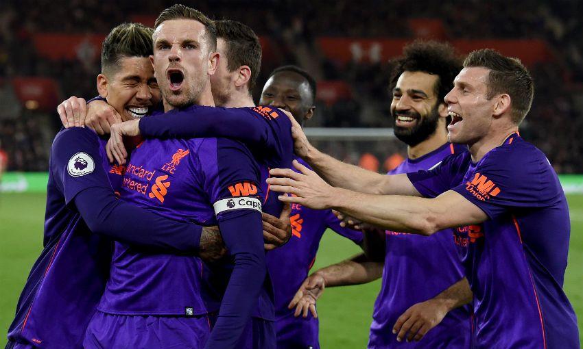 Jordan Henderson of Liverpool FC celebrates scoring versus Southampton
