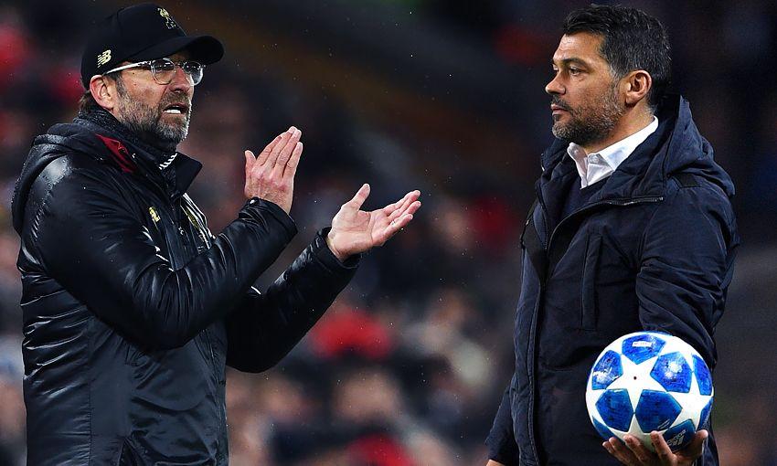 Liverpool manager Jürgen Klopp and Porto boss Sergio Conceicao