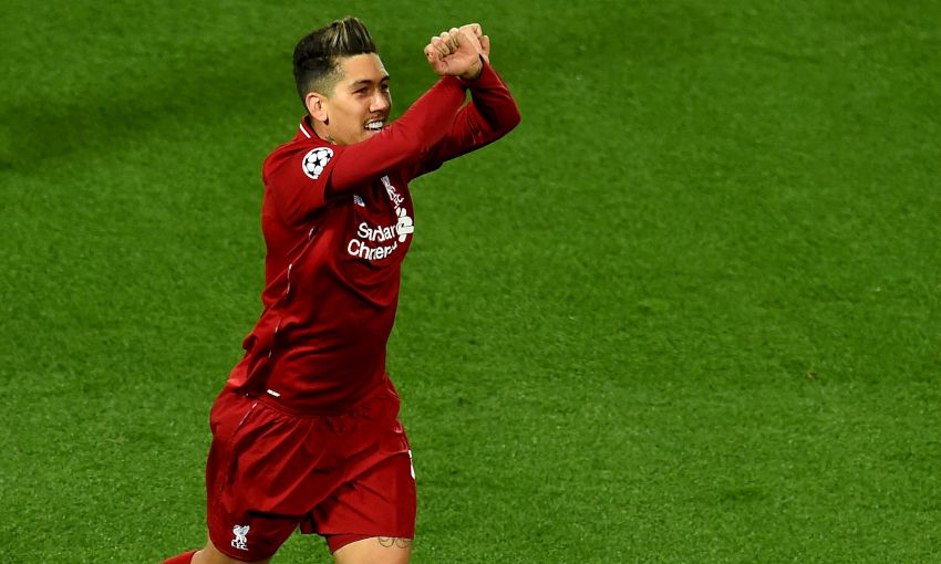 Roberto Firmino celebrates scoring against FC Porto