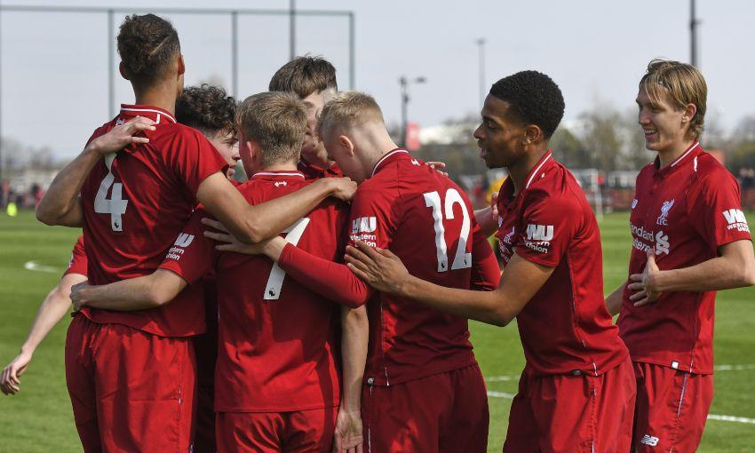 Liverpool U18s celebrate a goal