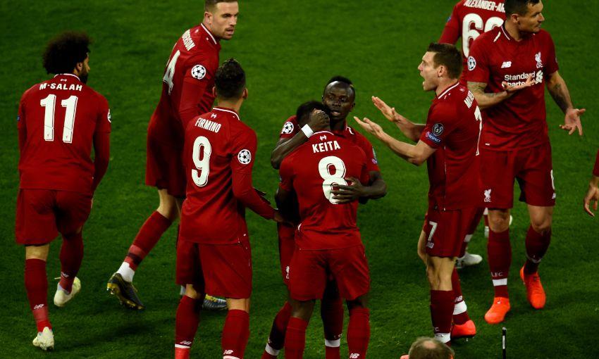 Naby Keita celebrates a goal for Liverpool against FC Porto