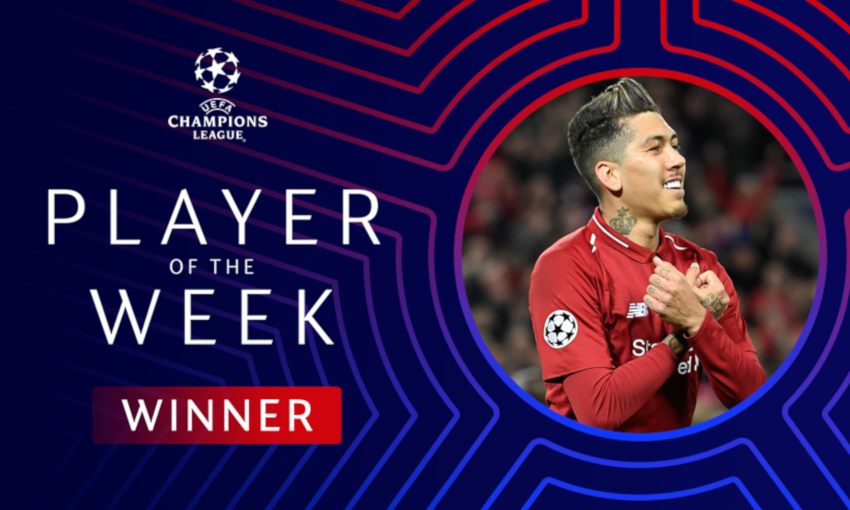 Roberto Firmino wins Champions League Player of the Week award