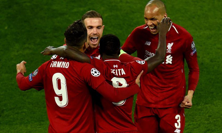 Naby Keita celebrates a goal for Liverpool