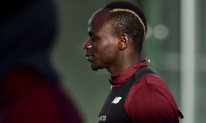 Sadio Mane in Liverpool training at Melwood