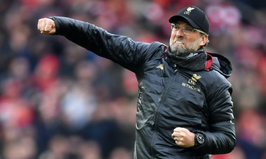 Liverpool manager Jürgen Klopp celebrates victory against Chelsea