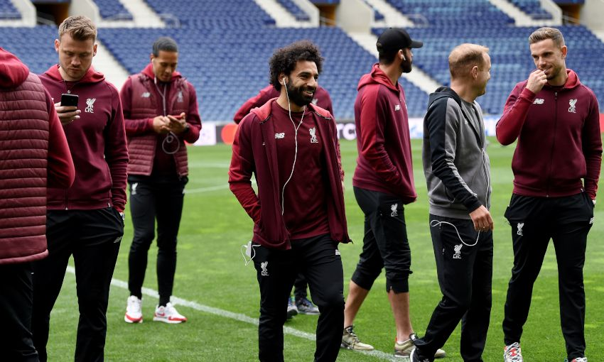 Liverpool players walk around Estadio do Dragao, April 16