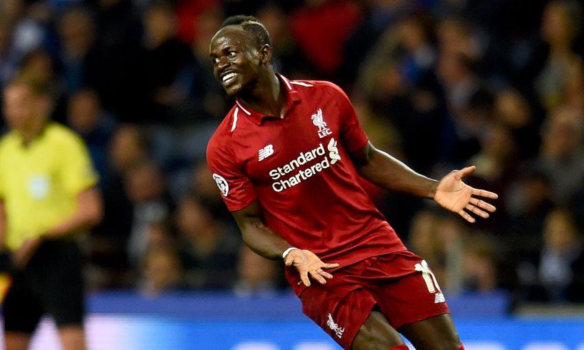 Sadio Mane celebrates scoring for Liverpool against FC Porto