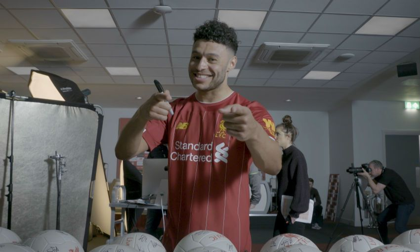 Alex Oxlade-Chamberlain behind the scenes of Liverpool FC's 2019-20 home kit shoot