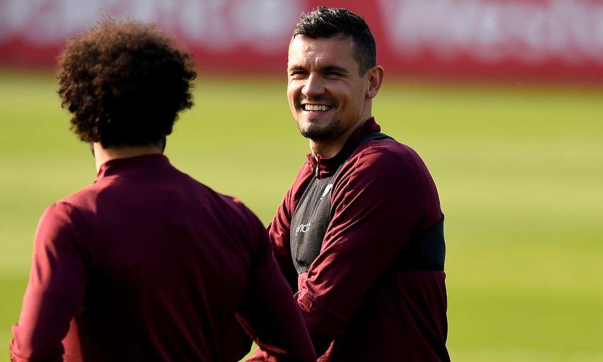 Dejan Lovren in Liverpool training
