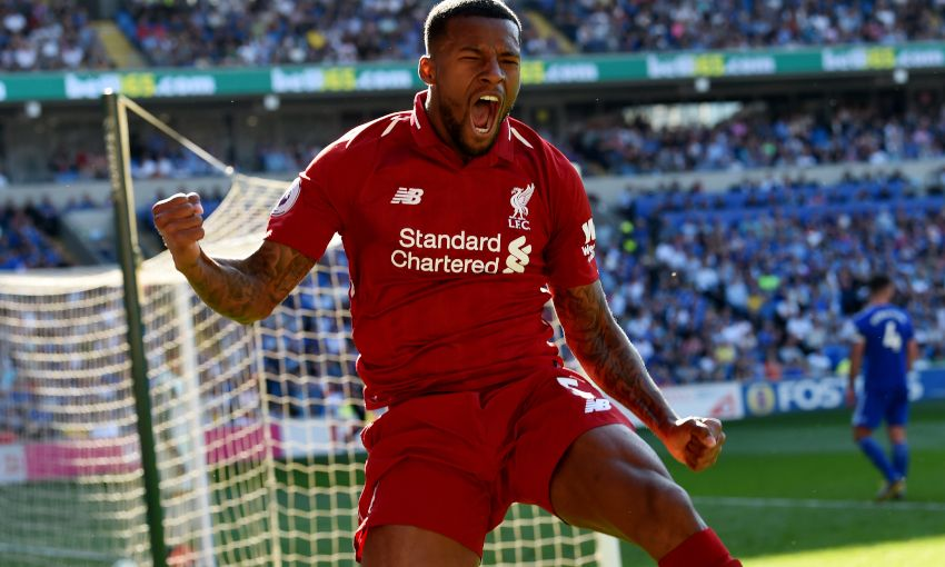 Georginio Wijnaldum celebrates his goal against Cardiff City