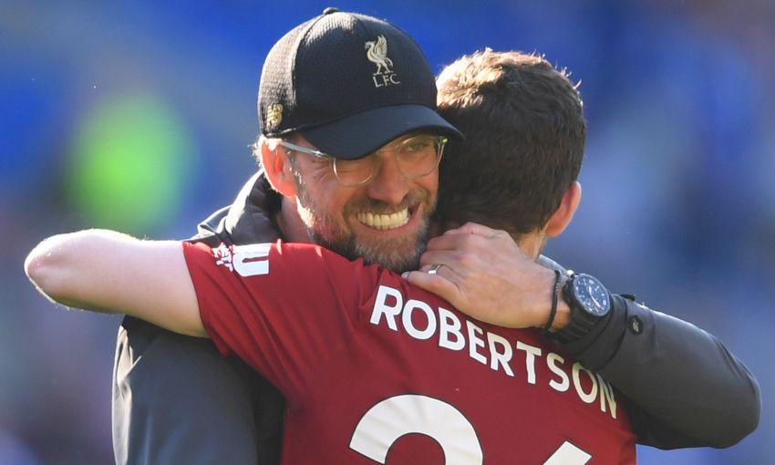 Jürgen Klopp celebrates a win with Andy Robertson