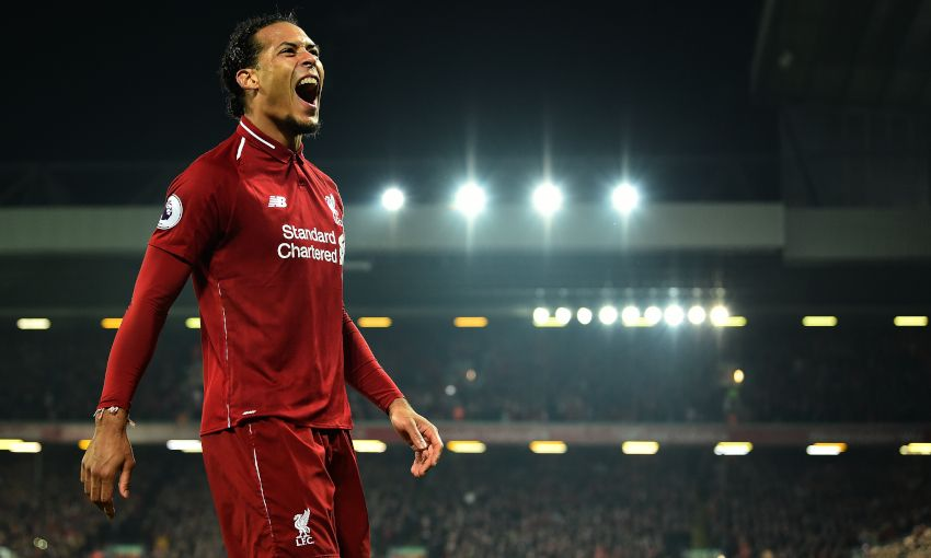 Virgil van Dijk celebrates a goal at Anfield