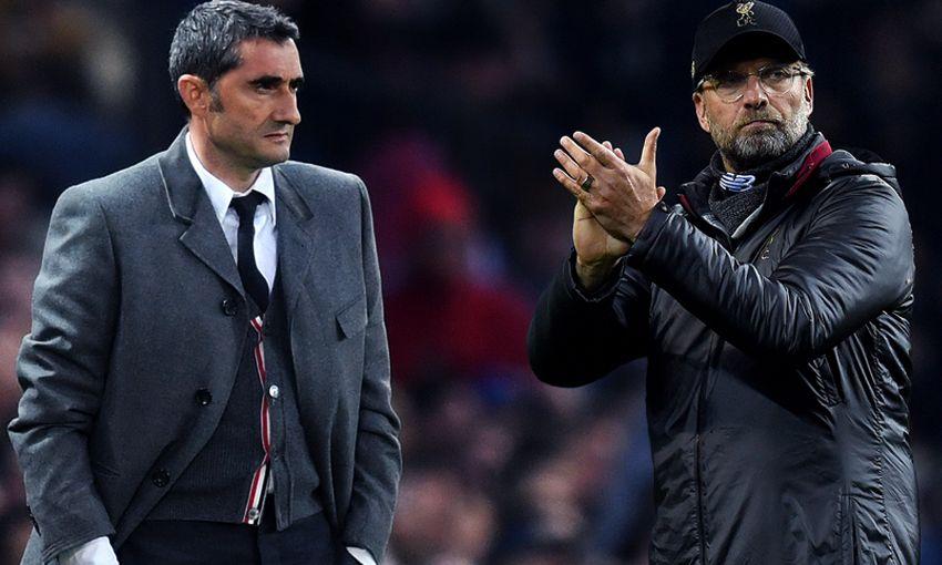 Barcelona boss Ernesto Valverde and Liverpool manager Jürgen Klopp.