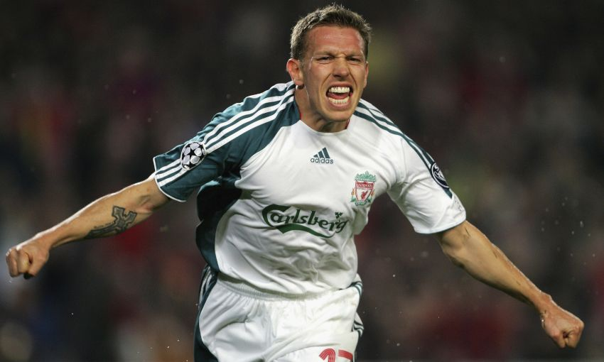 Craig Bellamy celebrates against Barcelona, 2007