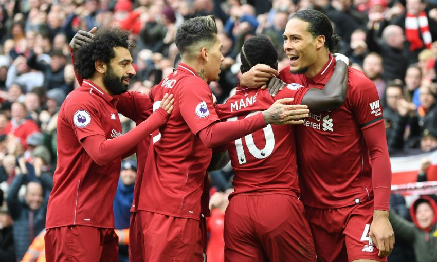 Sadio Mane, Virgil van Dijk and Mohamed Salah celebrate