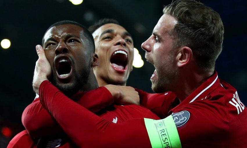 Georginio Wijnaldum celebrates against Barcelona