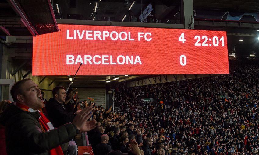 ผลการค้นหารูปภาพสำหรับ INSIDE ANFIELD liverpool 4-0 barcelona