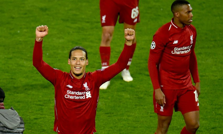 Virgil van Dijk celebrates after Liverpool 4-0 Barcelona at Anfield
