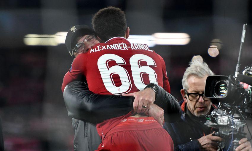 Trent Alexander-Arnold celebrates win against Barcelona