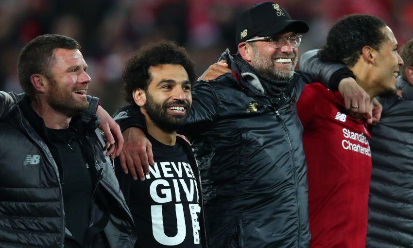 Mohamed Salah celebrates Liverpool's win over Barcelona