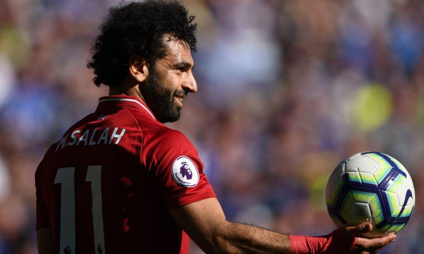 Liverpool forward Mohamed Salah in action
