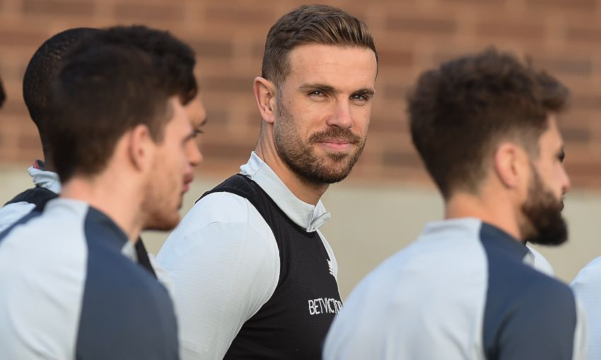 Jordan Henderson in training at Melwood