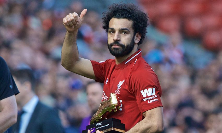 Mohamed Salah with Golden Boot award