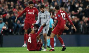 Joe Gomez, Alisson Becker, Virgil van Dijk and Joel Matip of Liverpool FC