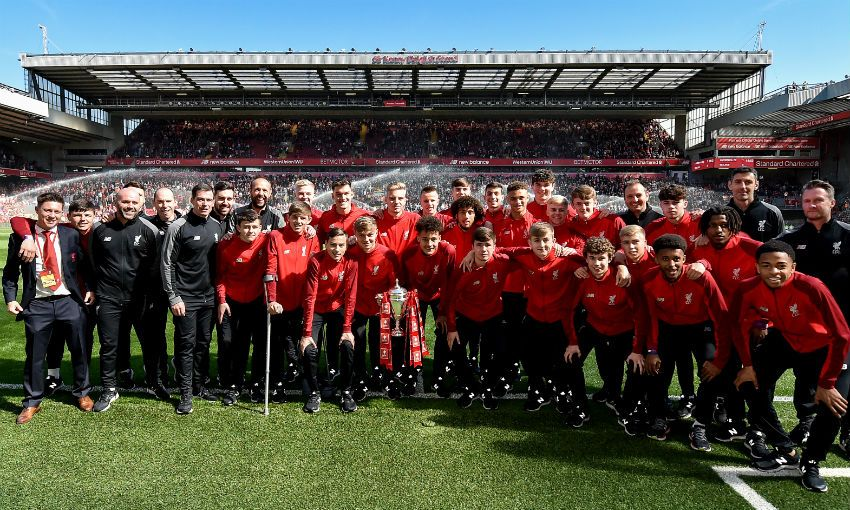 Liverpool U18s parade FA Youth Cup around Anfield
