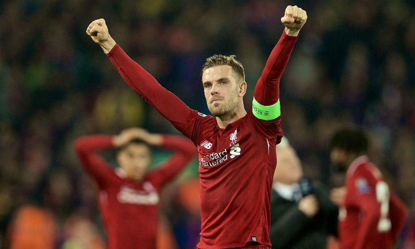 Jordan Henderson celebrates after Barcelona