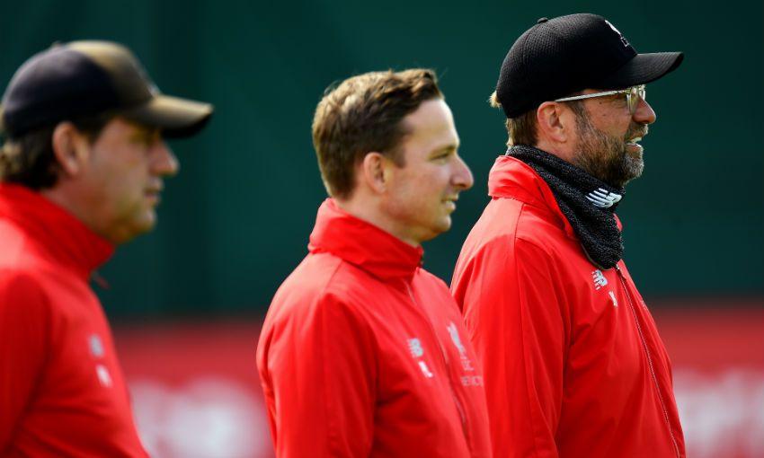 Jürgen Klopp, Pepijn Lijnders and Peter Krawietz of Liverpool FC