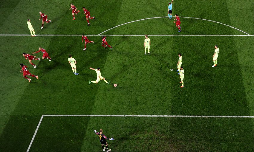 Liverpool FC celebrate Divock Origi's winning goal v Barcelona at Anfield