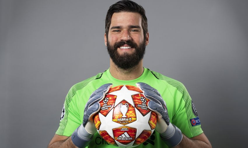 Alisson Becker at a UEFA photoshoot